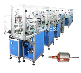 Automatic assembly line for motor stator